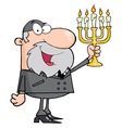 Rabbi Man Holding Up A Menorah vector image