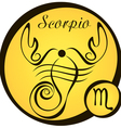 stylized zodiac signs in a yellow circle scorpio vector image