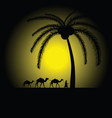 camel caravan under palm vector image