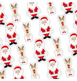 colorful background with sticker pattern of santa vector image
