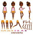 afro american young woman character creation set vector image