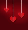 Background of hearts hanging on strings vector image vector image