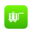 baggage cart icon digital green vector image vector image