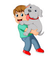 boy carrying his dog vector image vector image