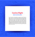casino night paper template vector image vector image