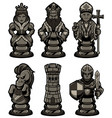 chess pieces set black 2 vector image