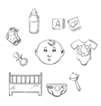Child toys and objects in sketch style vector image vector image