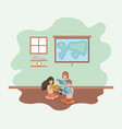 classroom with students sitting reading book vector image vector image