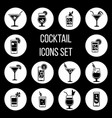 cocktail icons set in black and white vector image vector image