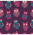 colorful seamless pattern with cute different owls vector image vector image