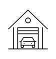 contoured linear simple garage with car icon vector image