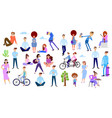 crowd of tiny people on summer holiday outdoor vector image