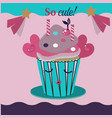 cute and sweet cupcakes vector image vector image