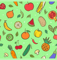 cute mix fruits and vegetables seamless pattern vector image vector image
