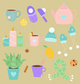 cute simple set with winter attributes vector image vector image