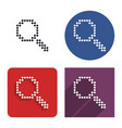 dotted icon magnifying glass in four variants vector image vector image