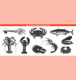engraved style sea food collection for posters vector image
