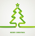 Folded paper Christmas green tree card vector image vector image