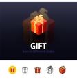 Gift icon in different style vector image vector image