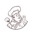 graphic silhouette cook ok gesture gourmet food vector image vector image