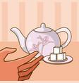 hand grabbing a tea with sugar vector image