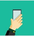 Hand holding smart phone trendy flat design vector image