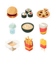 junk food unhealthy products burger pizza hot dog vector image vector image