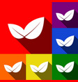 leaf sign set of icons with vector image vector image