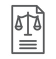 legal document line icon law and paper vector image vector image