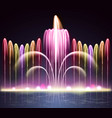 light fountain realistic night background vector image vector image