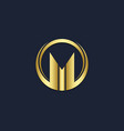 m letter initial round gold logo vector image
