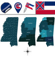 map of mississippi with regions vector image vector image