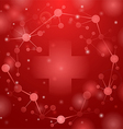 medical cross on red vector image vector image
