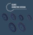 modern isometric gears with on grey vector image vector image