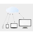 multimedia devices and cloud services vector image vector image