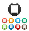 night stand icons set color vector image vector image