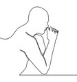 one line drawing man thinking decision problem vector image