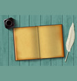 paper notepad and feather vector image vector image