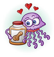 peanut butter and jelly fish cartoon character vector image