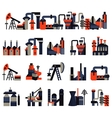 Plants and factories flat color icons vector image