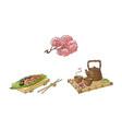 sakura branch sushi tea ceremony set vector image
