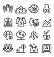 saving money icon set in thin line style vector image vector image