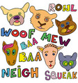 set of doodle funny and cute animals and their vector image