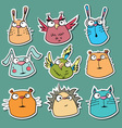 Set of funny animal stickers vector image vector image
