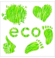 Set of icons with green grass texture environment vector image