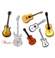 Set of musical guitars vector image vector image