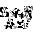 set with funny cartoon pandas vector image