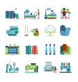 Textile Mill Flat Icons Set vector image