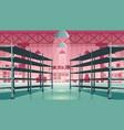 warehouse interior with empty metal racks vector image