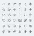 weather icons set black and white vector image vector image